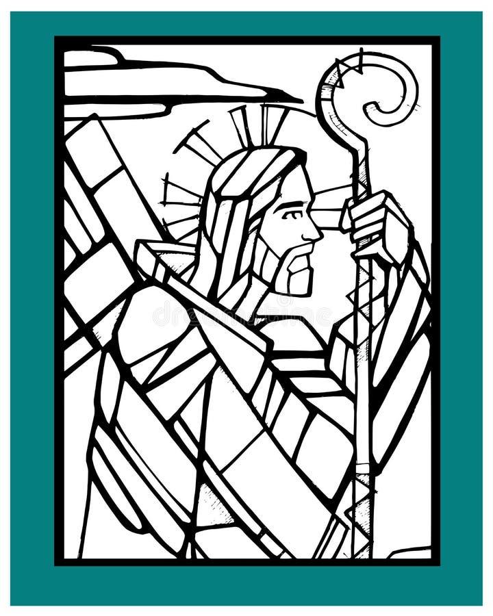 Jesus Good Shepherd d stock illustration
