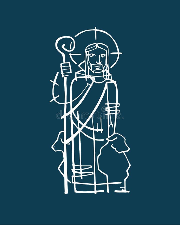 Jesus Good Shepherd e vector illustration