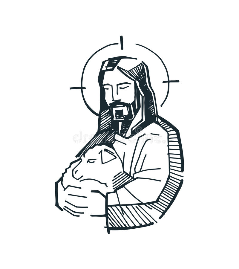 Jesus Good Shepherd g stock illustration