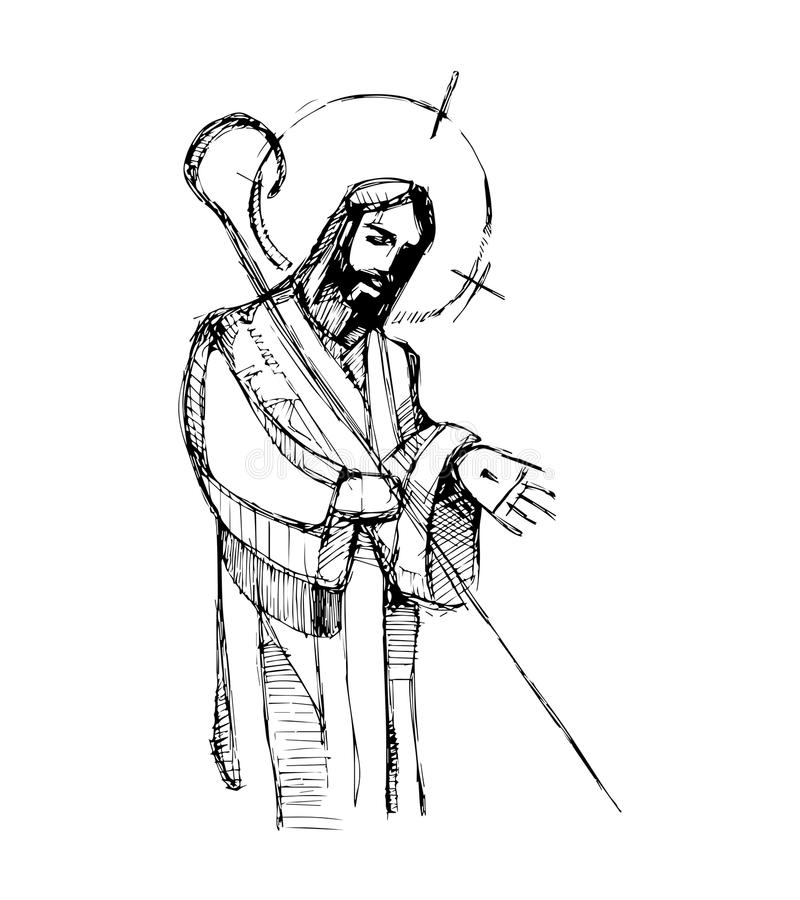 Jesus Good Shepherd h stock illustration
