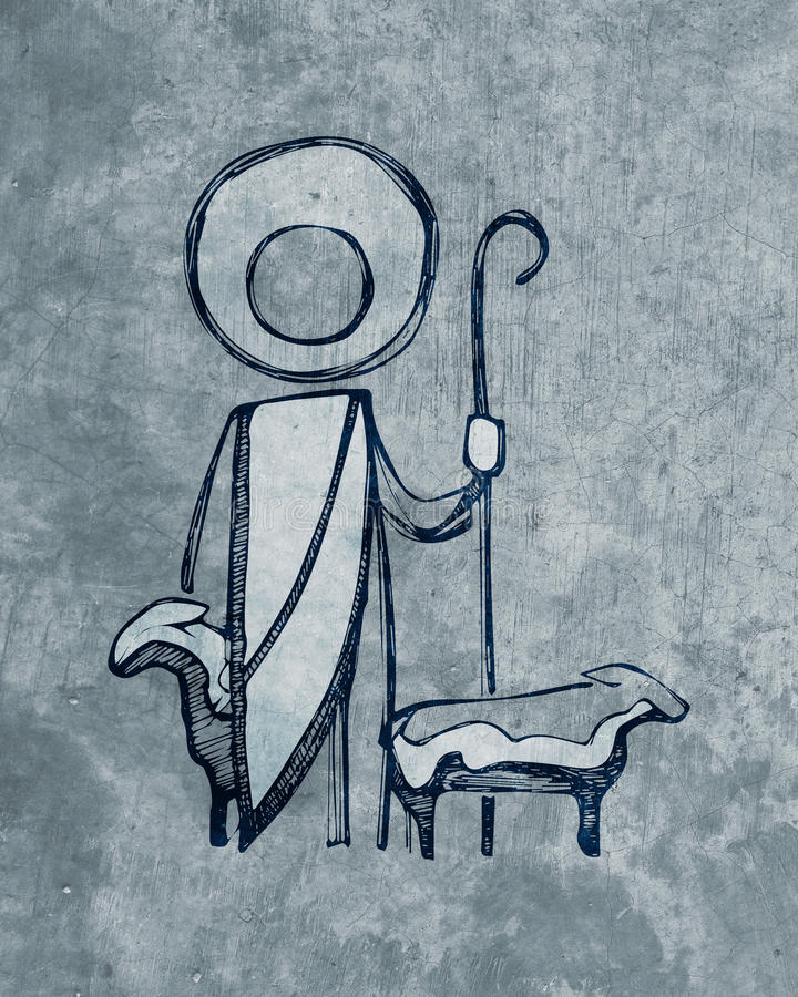 Jesus Good Shepherd illustration royalty free illustration