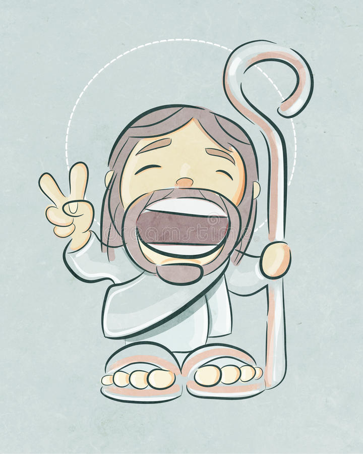 Jesus Good Shepherd smiling cartoon vector illustration