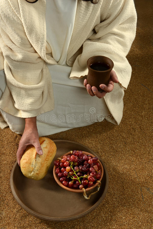 Jesus Hands Holding Communion stock foto's