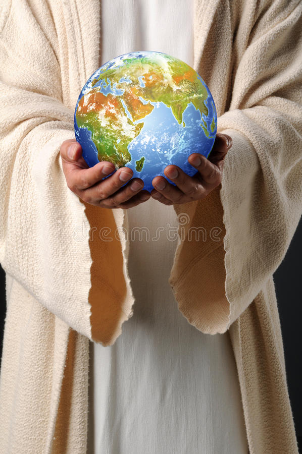 Jesus Hands Holding Earth Stock Photography