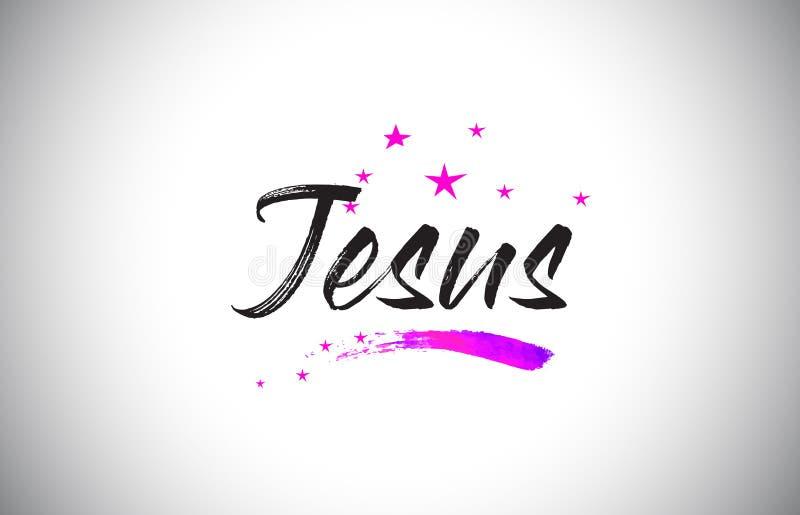 Jesus Handwritten Word Font con il vettore vibrante dei coriandoli e di Violet Purple Stars illustrazione di stock