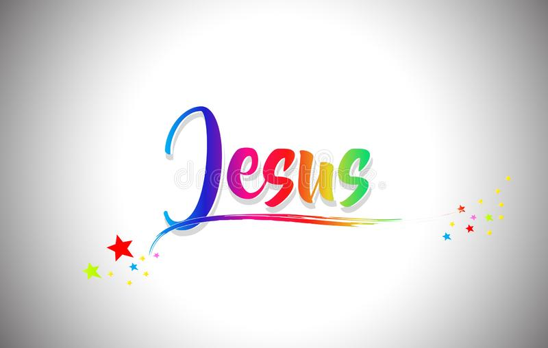 Jesus Handwritten Word Text with Rainbow Colors and Vibrant Swoosh. Design Vector Illustration vector illustration