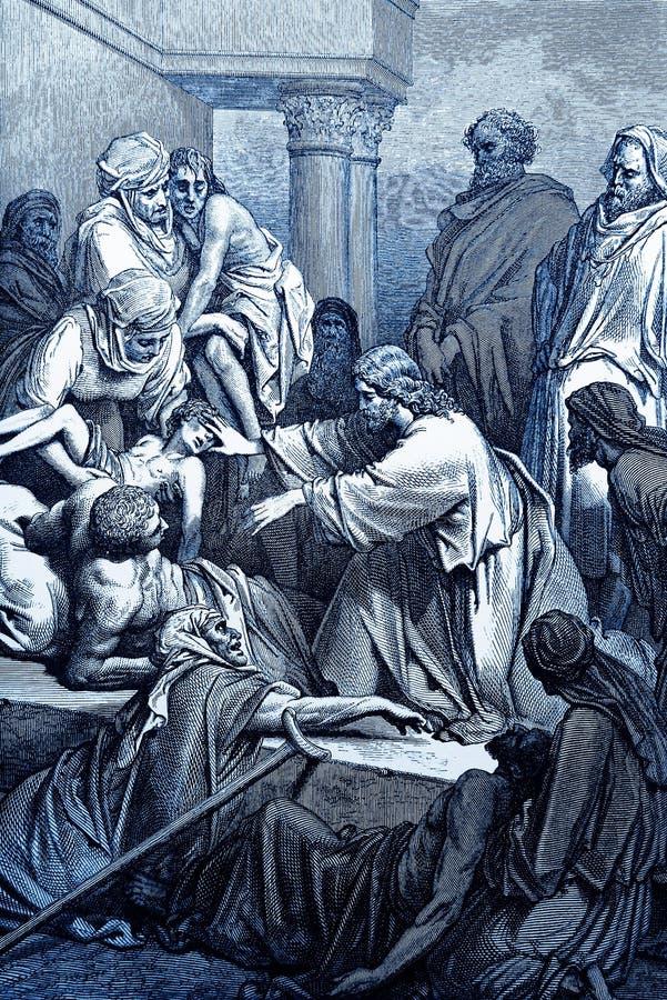 Jesus Heals o doente ilustração do vetor