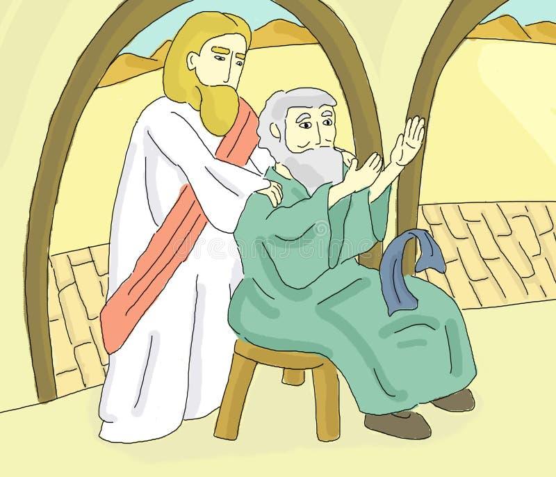 Jesus Heals uma ilustração do milagre do homem cego ilustração stock