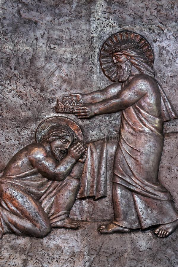 Jesus in heaven handing the crown to Joseph for his faithful service royalty free stock images