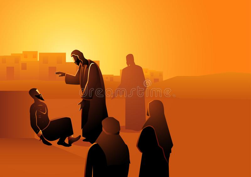 Jesus heelt de man met melaatsheid royalty-vrije illustratie
