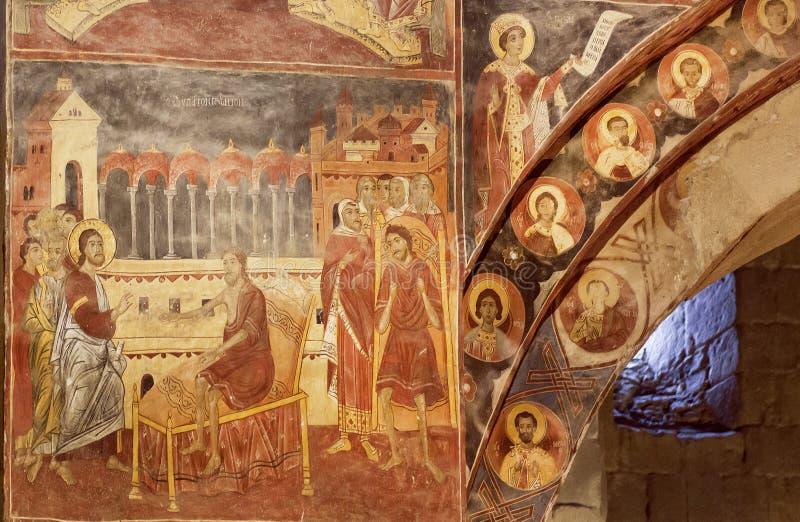 Jesus heelt een zieke mens op oude fresko van Svetitskhoveli-Kathedraal De Plaats van de Erfenis van de Wereld van Unesco stock foto
