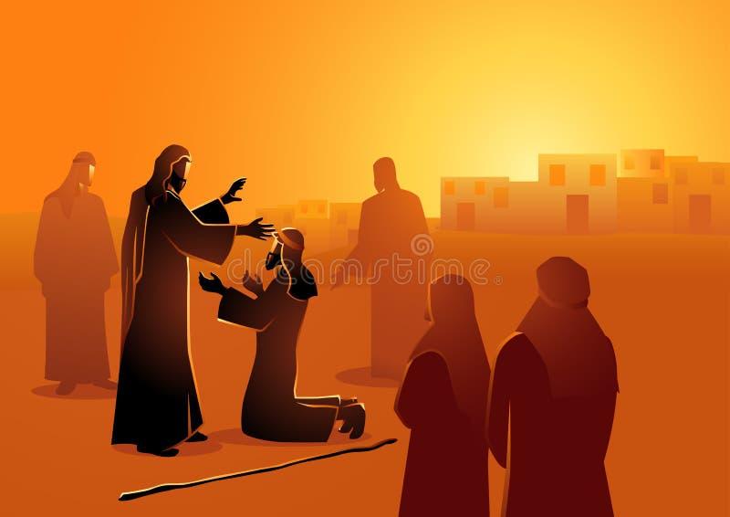Jesus heelt het blinde royalty-vrije illustratie