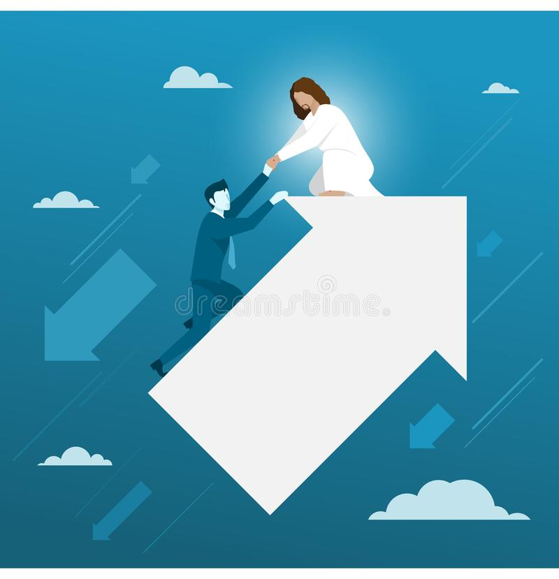 Jesus Helping Businessman From Falling para baixo ilustração do vetor