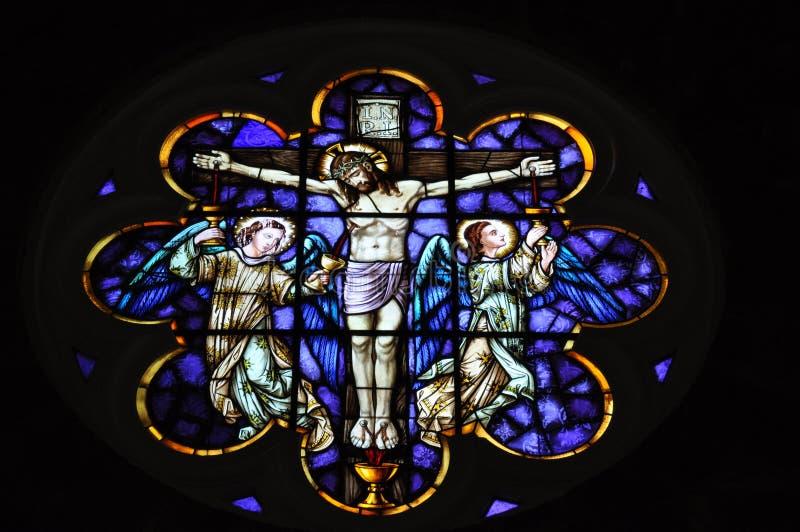 Jesus in het kruis een mozaïek royalty-vrije stock foto's