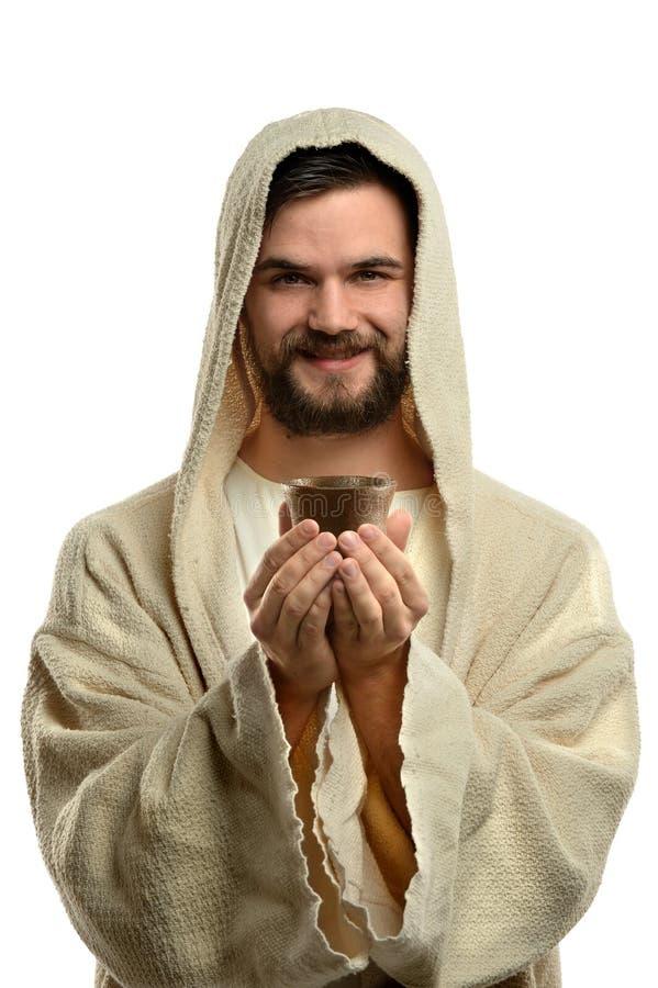 Jesus Holding Communion Cup photo libre de droits