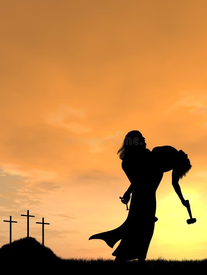 Jesus Holding Man royalty free stock photo