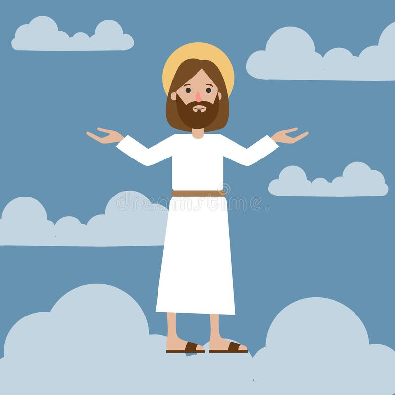 Jesus i himmel vektor illustrationer