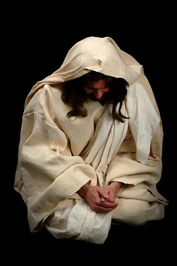 Jesus im Gebet lizenzfreie stockbilder