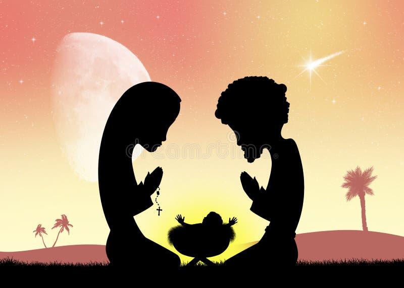 jesus joseph mary stock illustrationer