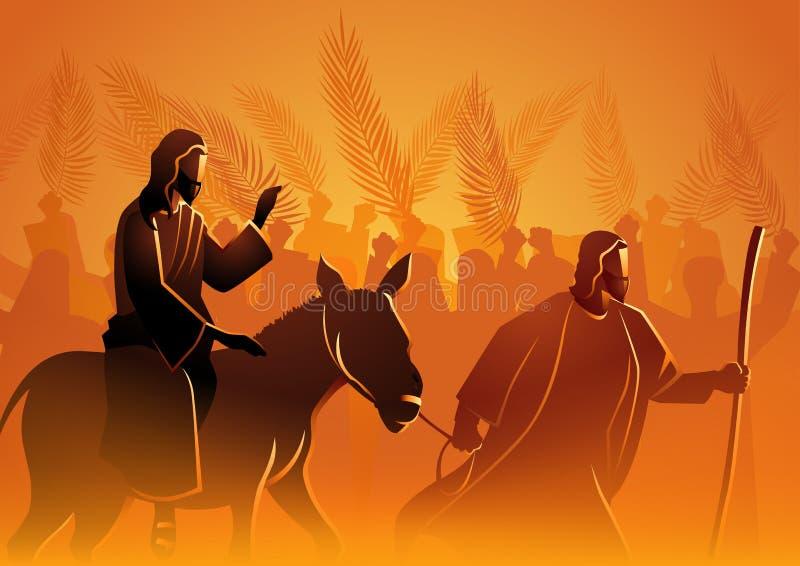 Jesus kommer till Jerusalem som konung stock illustrationer
