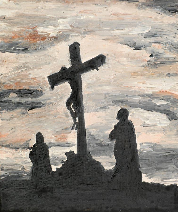 Jesus korsfäste på Golgotha royaltyfri illustrationer