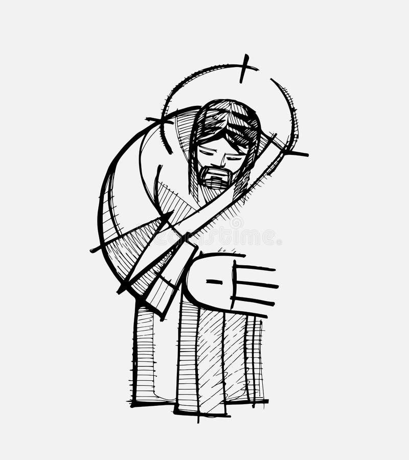 Jesus kram vektor illustrationer