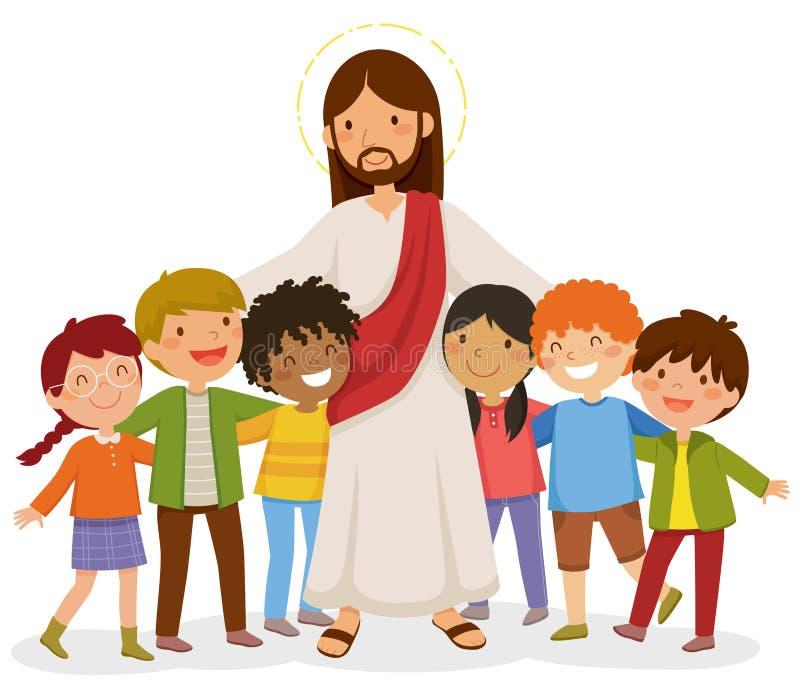 Jesus kramar barn vektor illustrationer