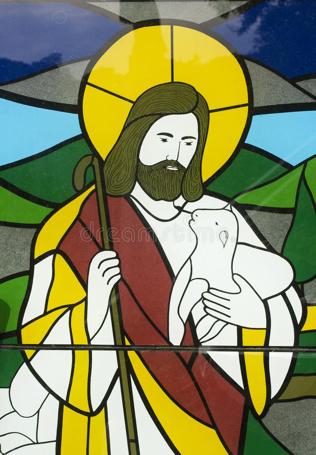 Jesus and a lamb stock photo