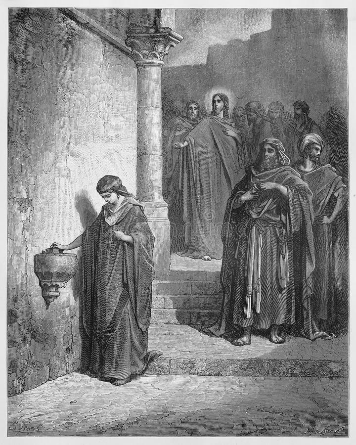 Jesus Last Days in the Temple; The Widow's Mite. Picture from The Holy Scriptures, Old and New Testaments books collection published in 1885, Stuttgart