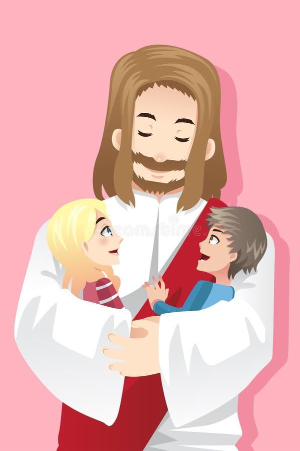 Jesus liebt Kinder stock abbildung