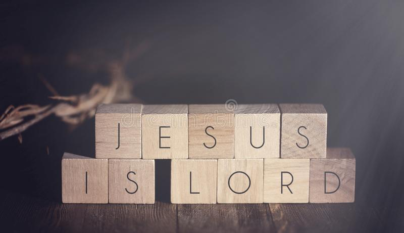 Jesus is Lord Spelled in Blocks stock images