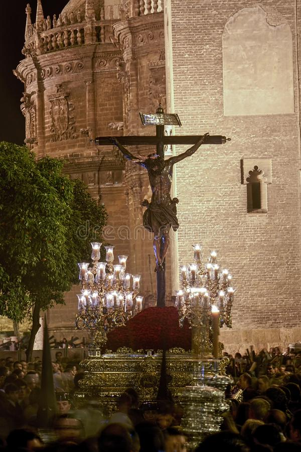 Brotherhood of Christ`s Love, Holy Week in Seville stock images