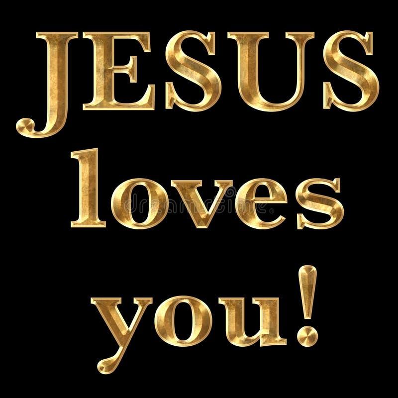 Jesus Loves You text stock illustrationer