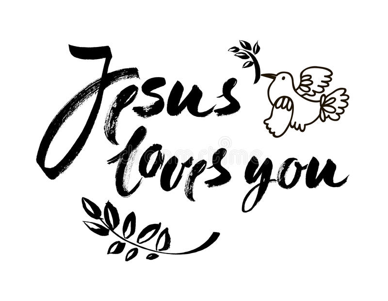 Jesus loves you vector inspirational quote design element for
