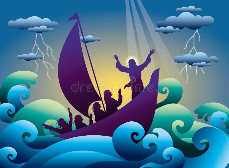 Jesus lugnar stormen på fartyget royaltyfri illustrationer