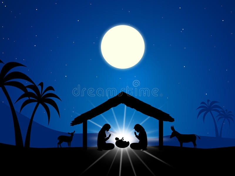 Jesus Manger Represents Religion Baby en Christendom stock illustratie