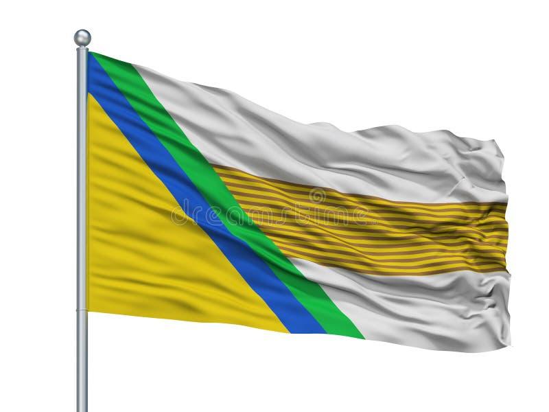 Jesus Maria City Flag On Flagpole, departamento de Colombia, Santander, aislado en el fondo blanco stock de ilustración