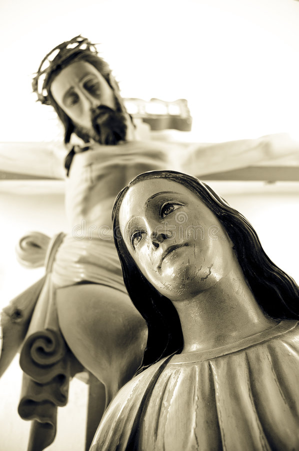 Jesus and mary. Statue of jesus and mary royalty free stock photos
