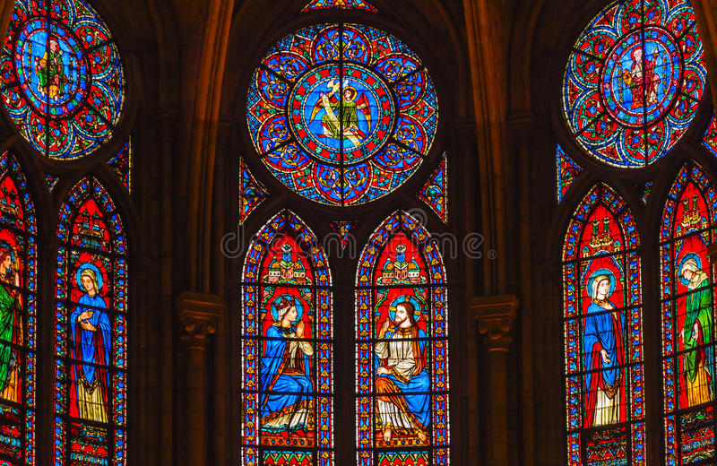 Jesus Mary Angels King Stained Glass Notre Dame Paris France stockfotografie
