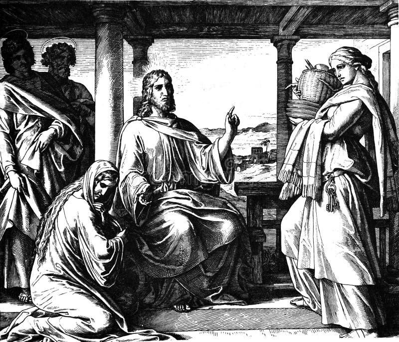 Jesus, Mary, e Martha imagens de stock