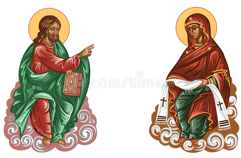 Jesus and mary. Jesusu and mary Vector file saved as EPS AI8, no effects, easy edit and print.for hagiograpy,serigrapy or screenprint stock illustration