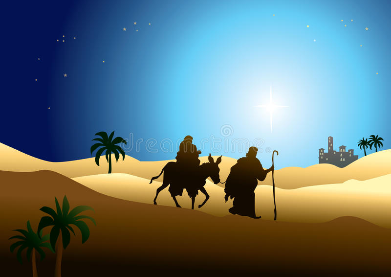 Jesus Mary and Joseph royalty free illustration