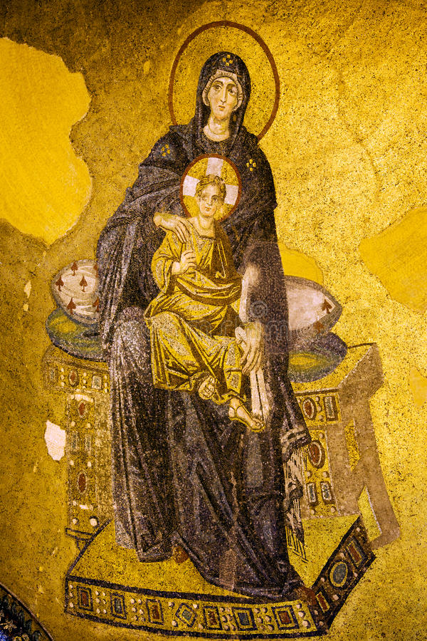 jesus mary mosaikoskuld royaltyfria foton