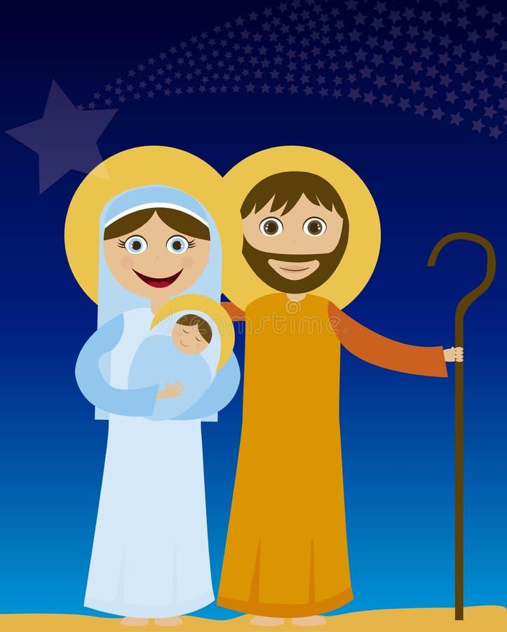 Jesus mary och joseph royaltyfri illustrationer