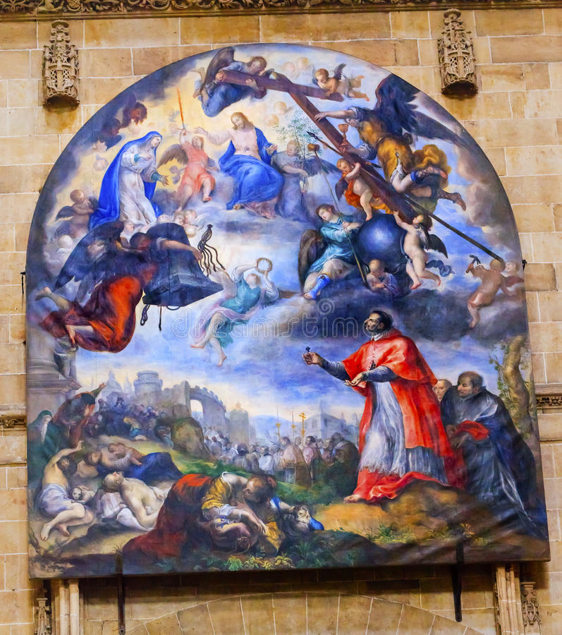 Jesus Mary Painting Gallego Old Salamanca Cathedral Spain. Jesus Mary Cardinal Painting by Fernando Gallego 1468-1507 Old Salamanca Cathedral Castile Spain. Old royalty free stock image