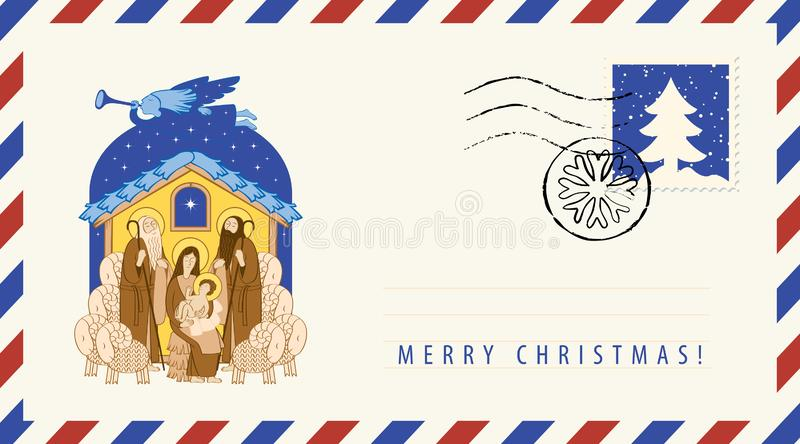 jesus mary Tillbedjan av magina Kuvert stock illustrationer