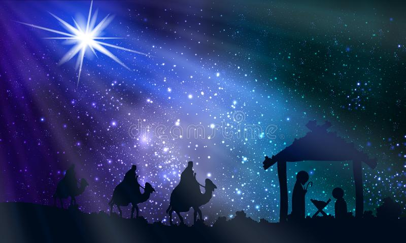 Jesus Mary und Joseph auf Weihnachtsnacht vektor abbildung