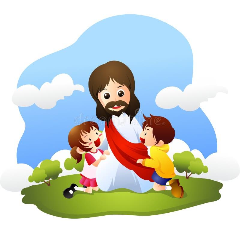 Jesus med små barn vektor illustrationer