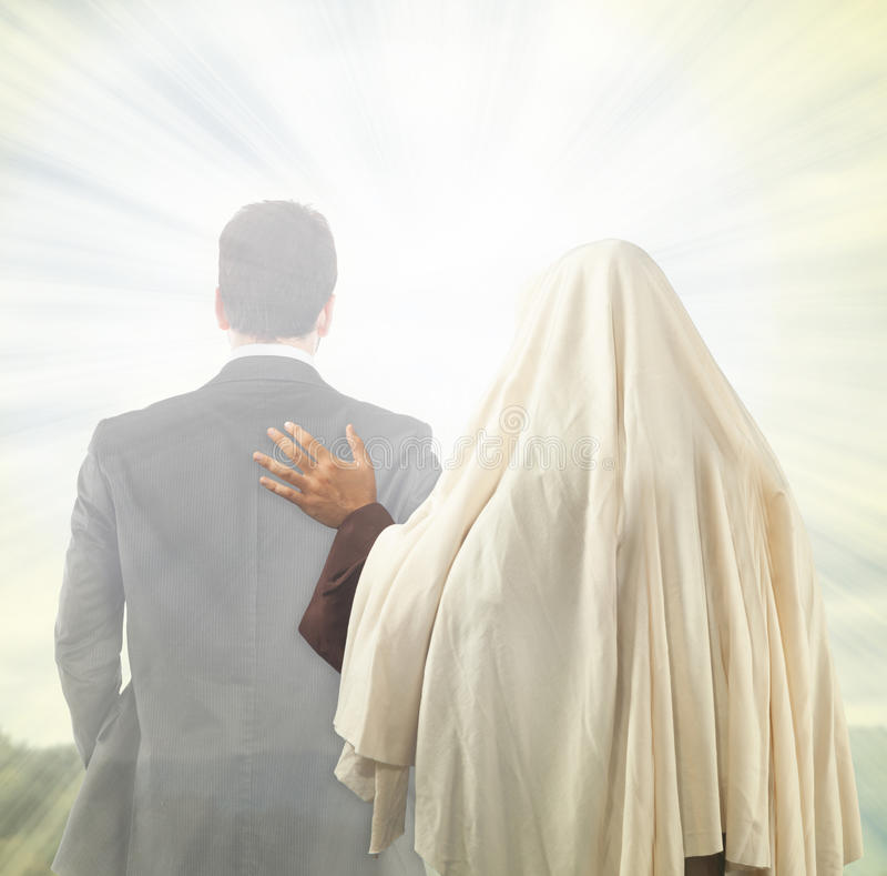 Jesus medföljer andan royaltyfria bilder