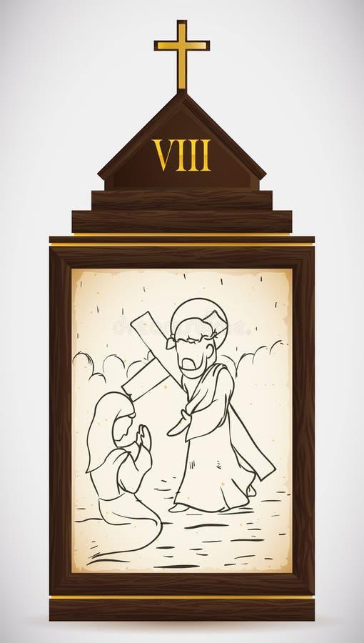 Jesus Meets as mulheres do Jerusalém, ilustração do vetor ilustração stock